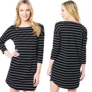BB Dakota Black White Striped Dinah Ponte Dress